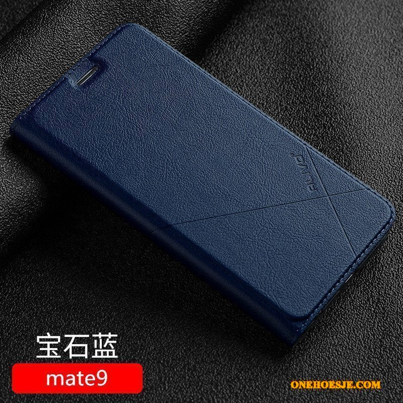 Hoesje Voor Huawei Mate 9 Clamshell Hoes Anti-fall Donkerblauw Leren Etui All Inclusive