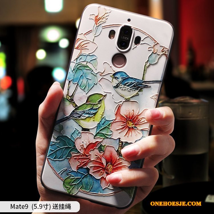 Hoesje Voor Huawei Mate 9 Hoes Blauw Anti-fall Chinese Stijl Zacht Scheppend