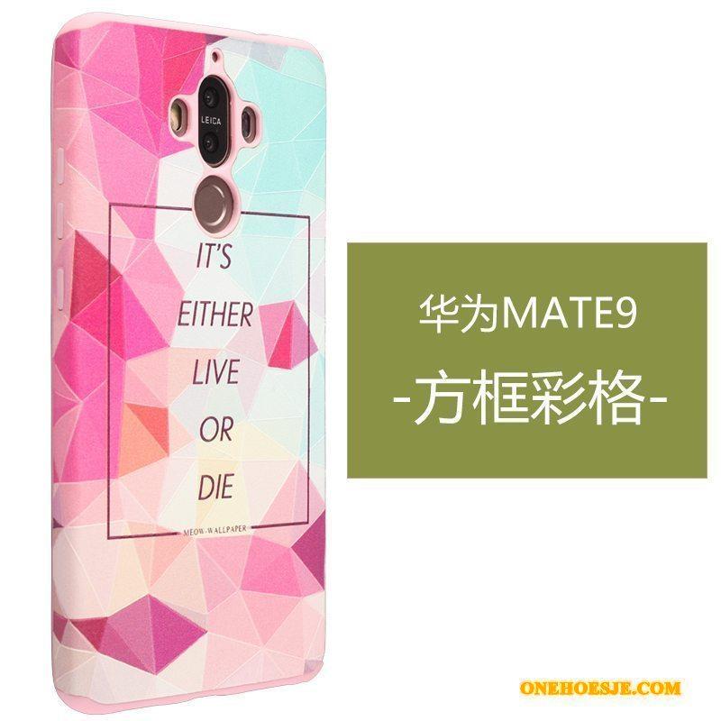 Hoesje Voor Huawei Mate 9 Reliëf Hoes Telefoon Geel Anti-fall Siliconen
