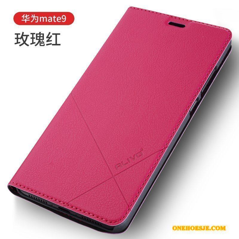 Hoesje Voor Huawei Mate 9 Rood Leren Etui Clamshell Anti-fall Telefoon