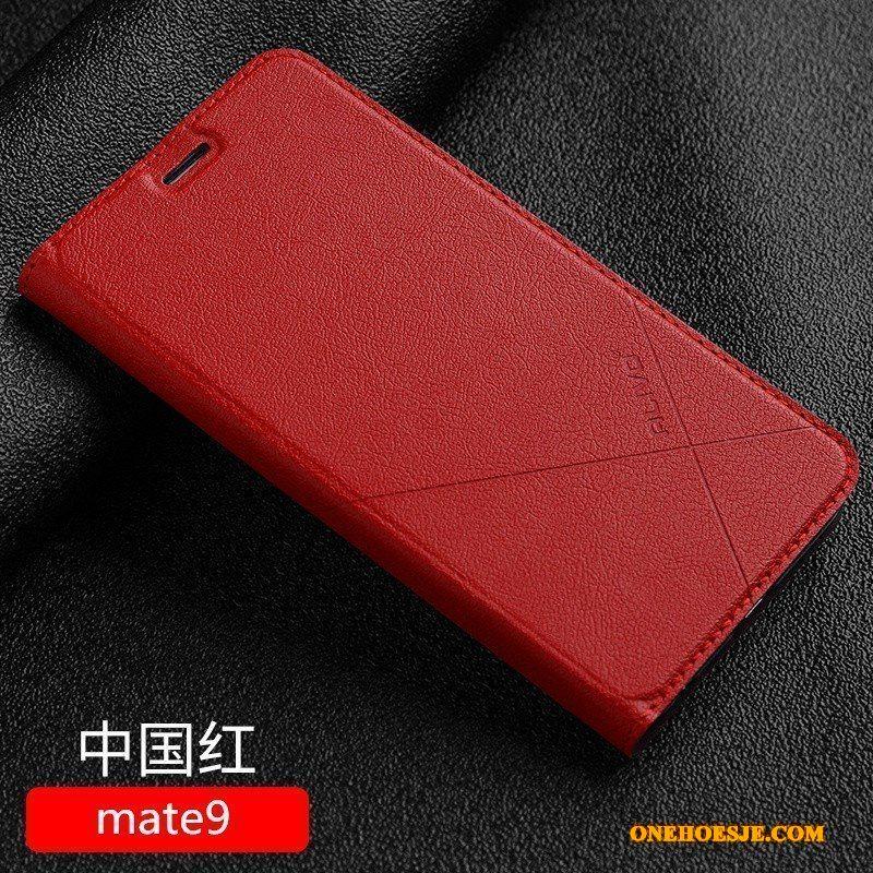 Hoesje Voor Huawei Mate 9 Rood Telefoon All Inclusive Bescherming Anti-fall Leren Etui
