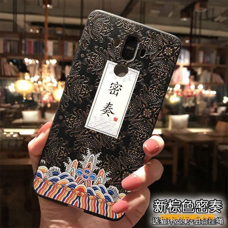 Hoesje Voor Huawei Mate 9 Roze Siliconen Chinese Stijl Hanger Telefoon