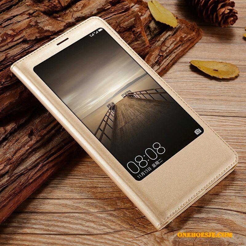 Hoesje Voor Huawei Mate 9 Telefoon Anti-fall Goud Clamshell Leren Etui Bescherming