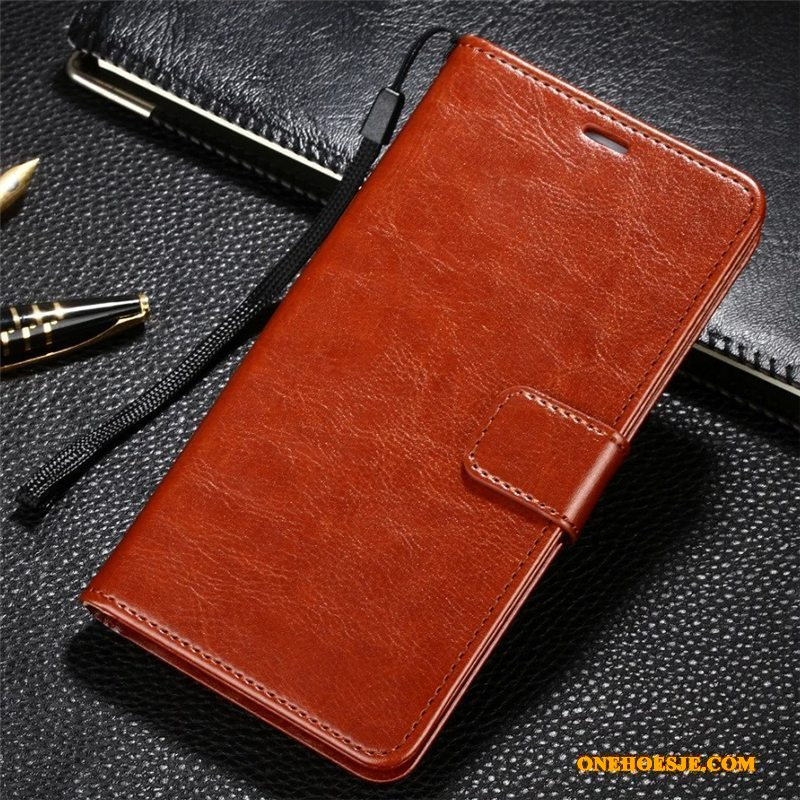 Hoesje Voor Huawei Mate 9 Telefoon Echt Leer Bescherming Folio Leren Etui
