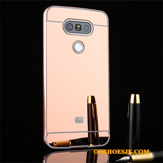 Hoesje Voor Lg G5 Achterklep Bescherming Telefoon Spiegel All Inclusive Omlijsting