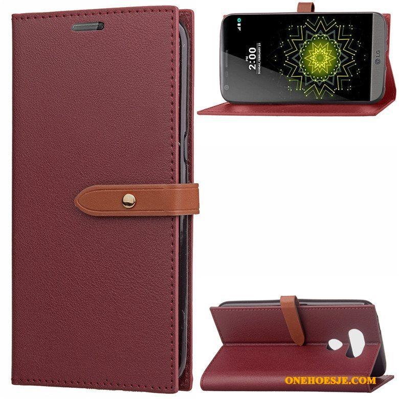 Hoesje Voor Lg G5 Leren Etui Zacht Folio Mobiele Telefoon Telefoon
