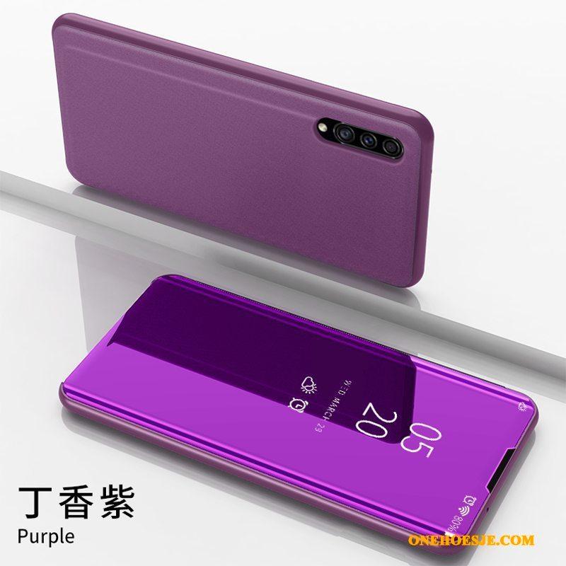 Hoesje Voor Samsung Galaxy A30s Spiegel Ondersteuning Telefoon Purper All Inclusive Ster