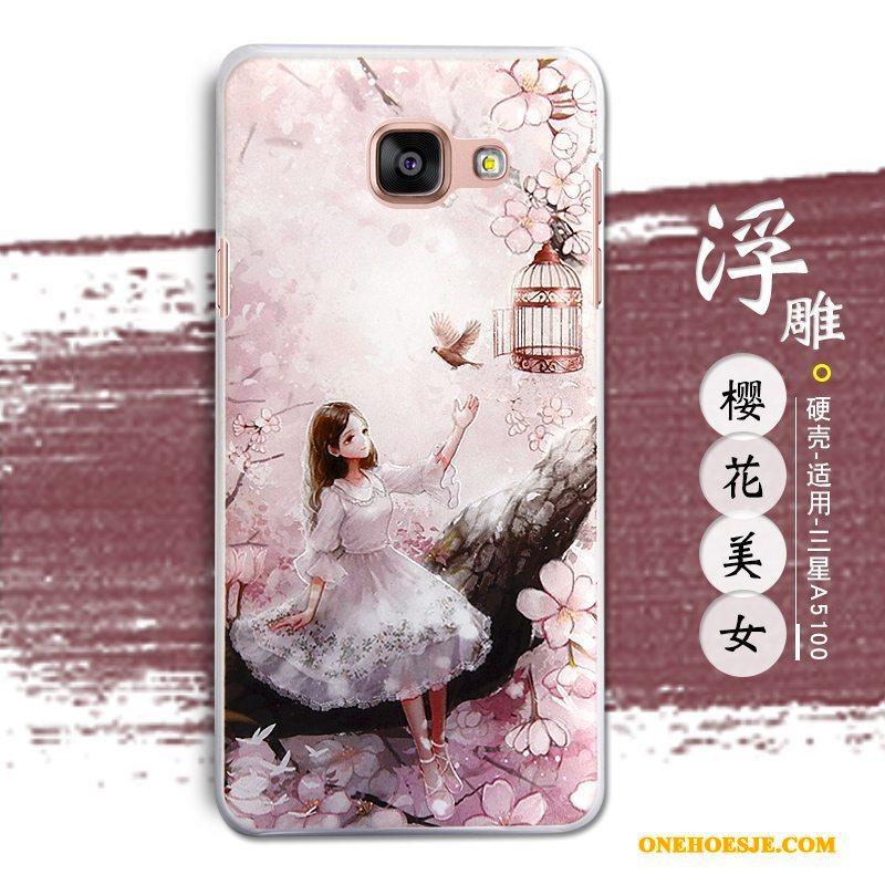 Hoesje Voor Samsung Galaxy A5 2016 Reliëf Hoes Ster Mobiele Telefoon Roze Telefoon