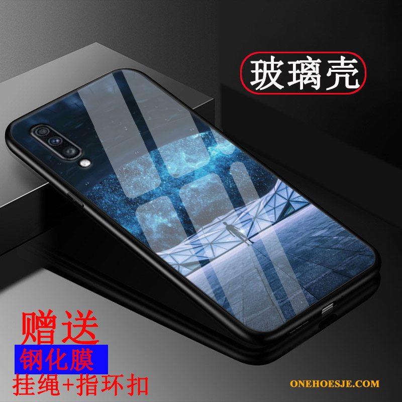 Hoesje Voor Samsung Galaxy A50 Siliconen Glas Pas Ster Blauw