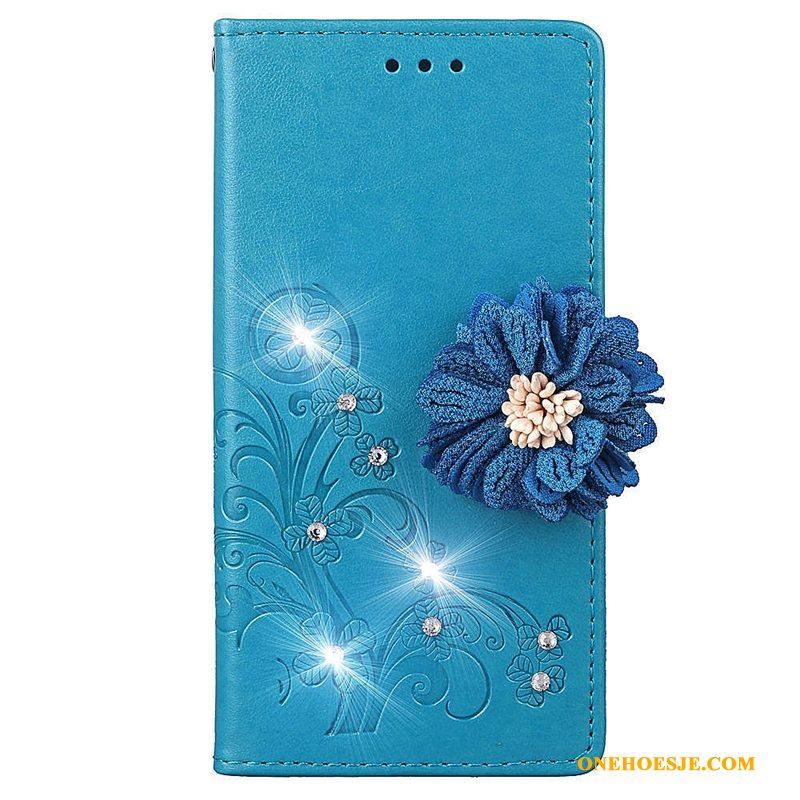 Hoesje Voor Samsung Galaxy A50 Zacht Leren Etui All Inclusive Purper Bescherming Ster