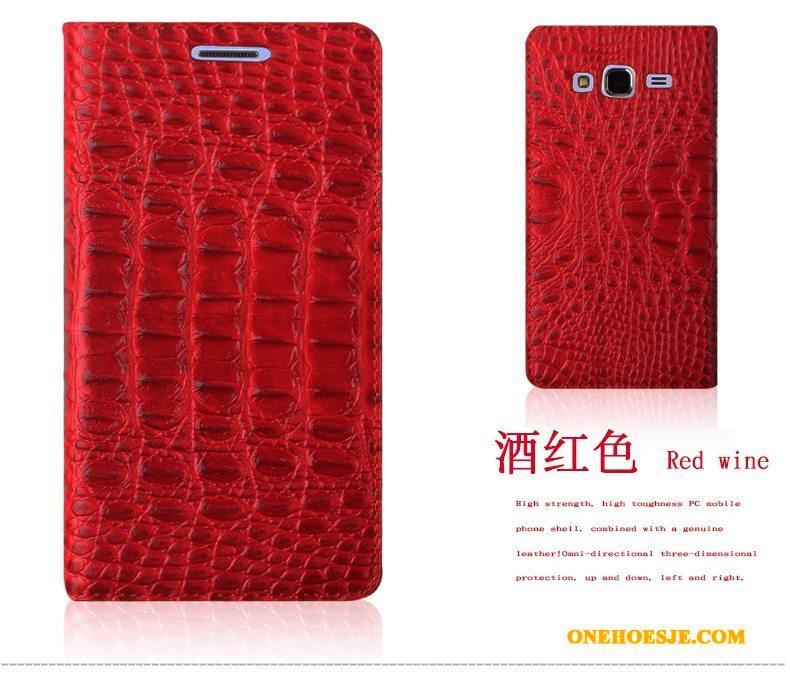 Hoesje Voor Samsung Galaxy J3 2015 Bescherming Hoes Mobiele Telefoon Ster Rood Krokodillenleer