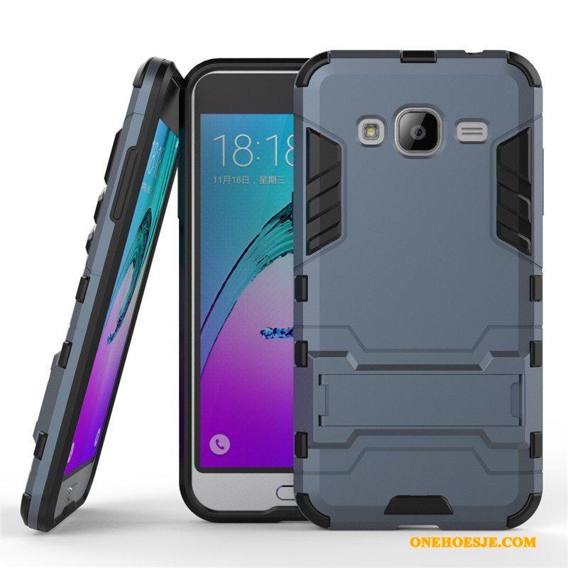 Hoesje Voor Samsung Galaxy J3 2016 Blauw Ster Ondersteuning Mobiele Telefoon Bescherming