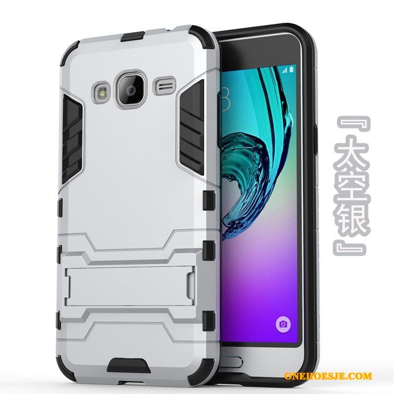 Hoesje Voor Samsung Galaxy J3 2016 Mobiele Telefoon Zacht Goud Hard Bescherming Hoes