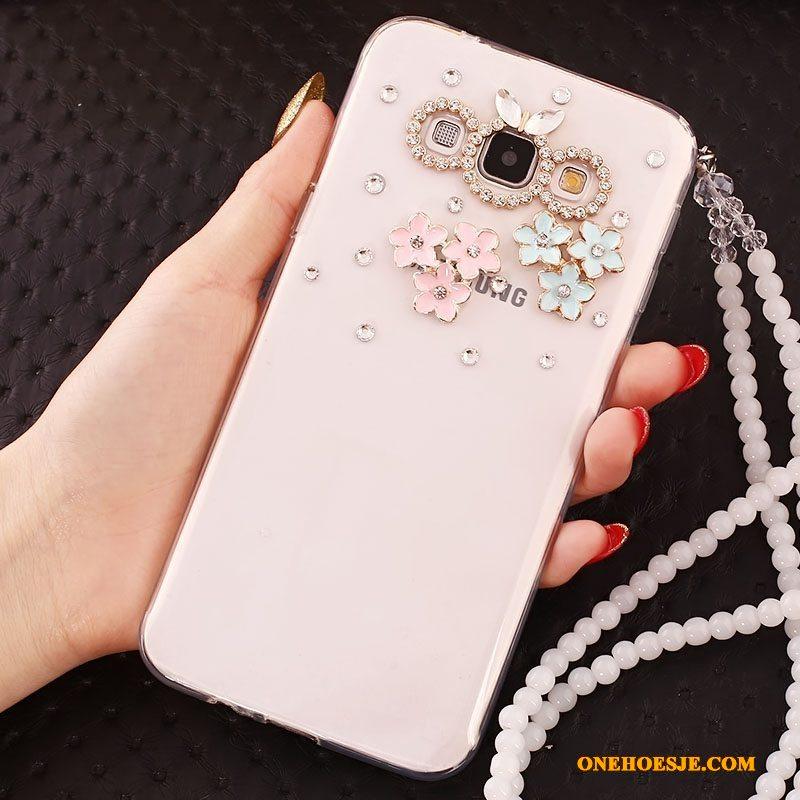 Hoesje Voor Samsung Galaxy J5 2015 Bescherming Ster Telefoon Zacht Hanger Goud