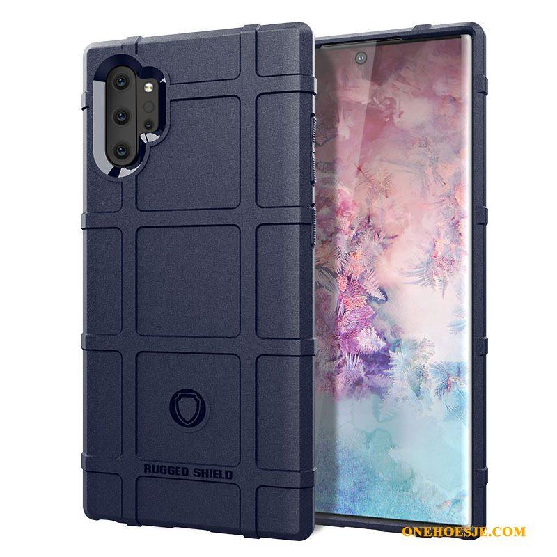 Hoesje Voor Samsung Galaxy Note 10+ Siliconen Hoes Telefoon Grijs Schrobben Ster