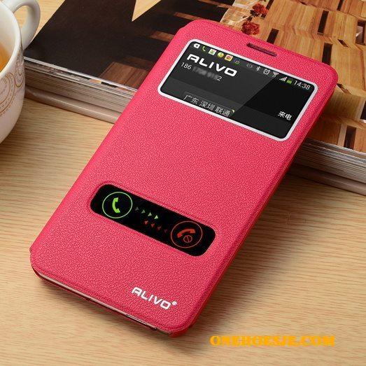 Hoesje Voor Samsung Galaxy Note 3 Hoes Mobiele Telefoon Leren Etui Rood Folio