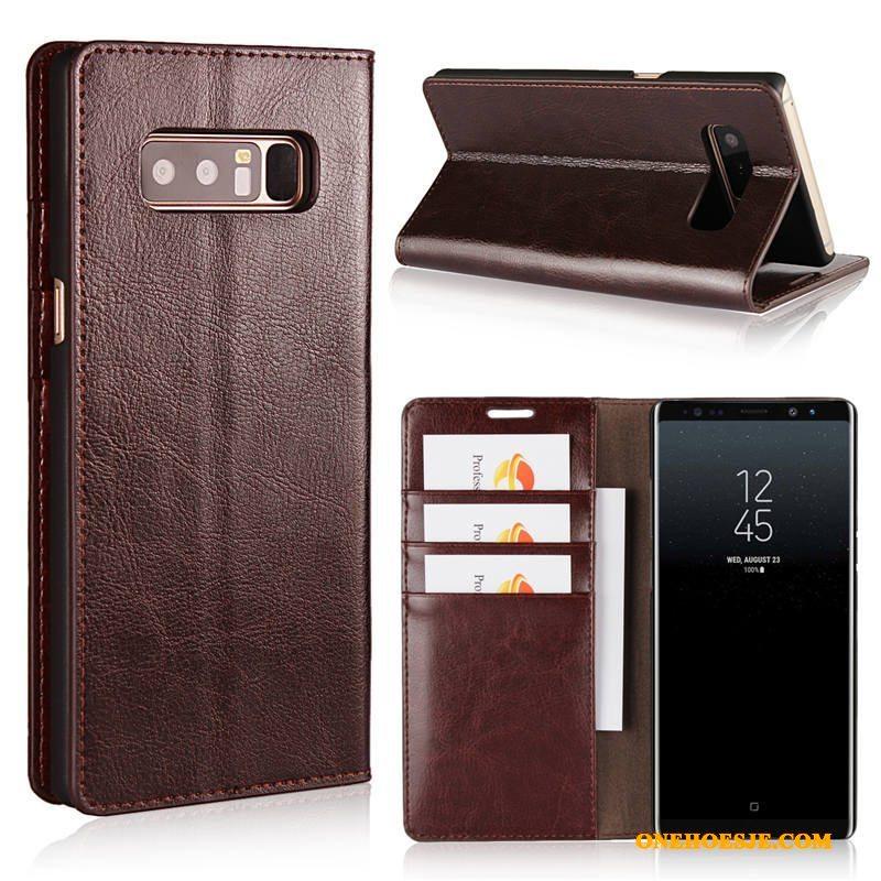 Hoesje Voor Samsung Galaxy Note 8 Hoes Kleur Bescherming Kaart Mobiele Telefoon Echt Leer