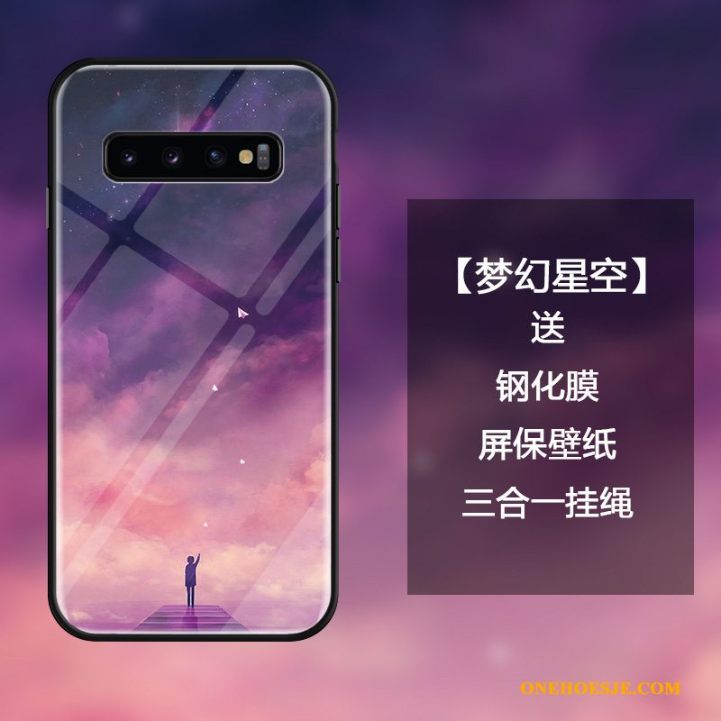 Hoesje Voor Samsung Galaxy S10 Bescherming Sterrenhemel Eenvoudige Dromen Anti-fall Gehard Glas