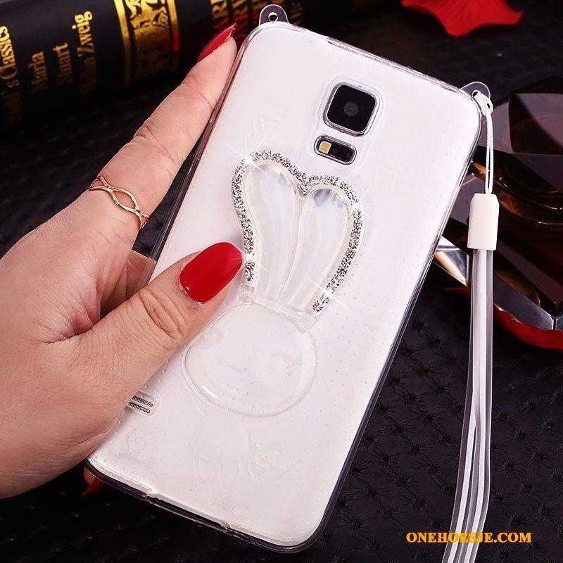 Hoesje Voor Samsung Galaxy S5 Mobiele Telefoon Hoes Met Strass Roze Telefoon Doorzichtig