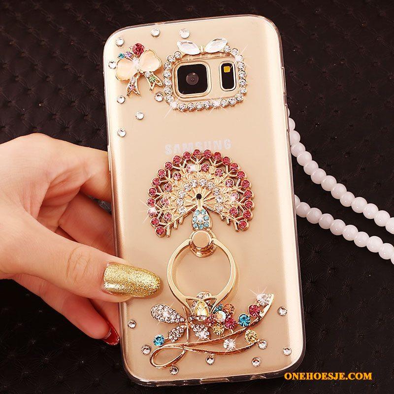 Hoesje Voor Samsung Galaxy S6 Edge + Goud Hoes Bescherming Grote Ster Telefoon