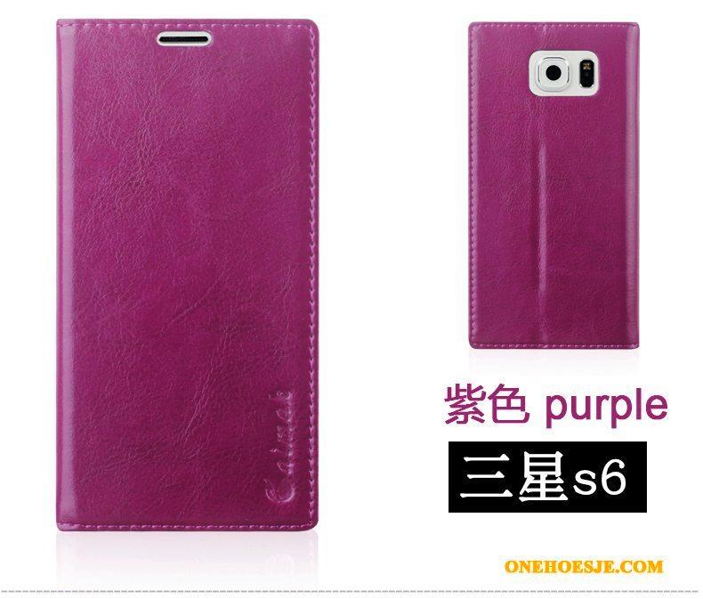 Hoesje Voor Samsung Galaxy S6 Khaki Bescherming Mobiele Telefoon Leren Etui Hoes Ster