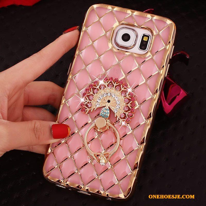 Hoesje Voor Samsung Galaxy S7 Edge Mobiele Telefoon Bescherming Goud Zacht Ring Met Strass