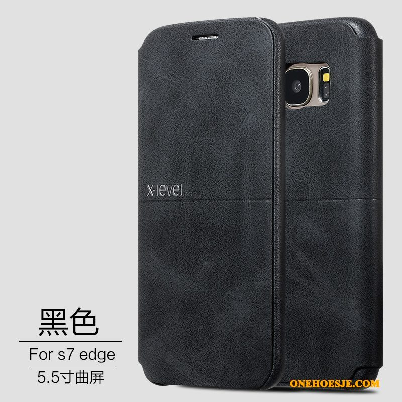 Hoesje Voor Samsung Galaxy S7 Edge Ster Leren Etui Anti-fall Goud Hoes Winterslaap