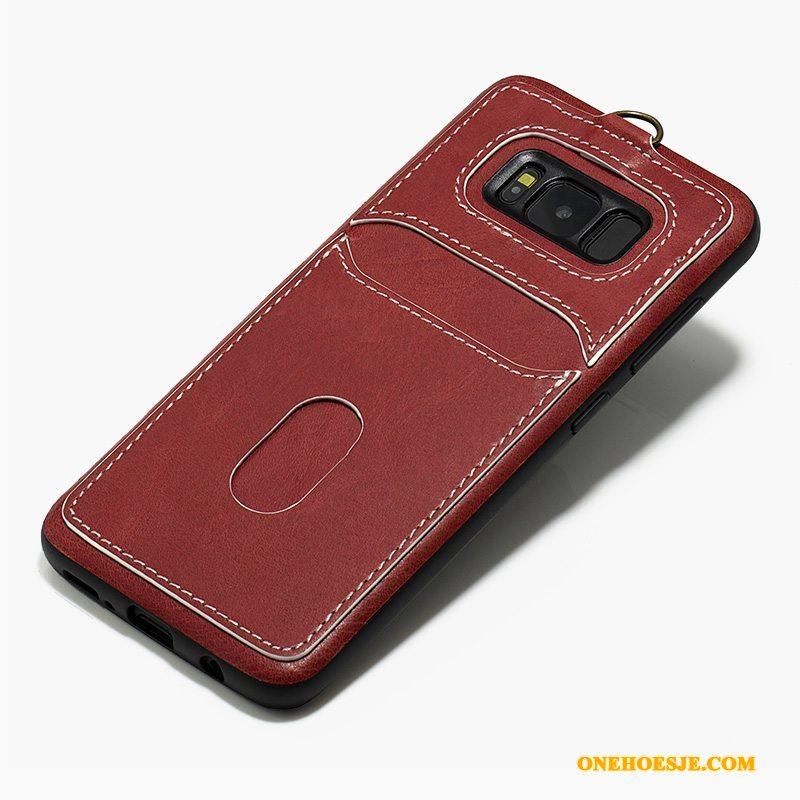 Hoesje Voor Samsung Galaxy S8+ Hoes Echt Leer Bescherming Luxe Wijnrood All Inclusive