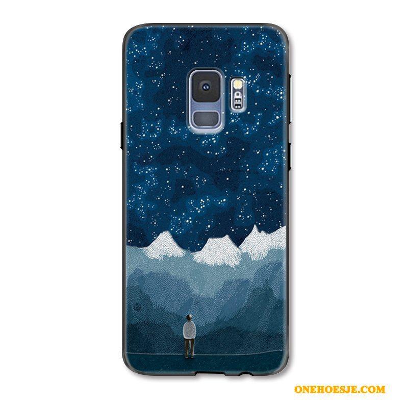 Hoesje Voor Samsung Galaxy S9+ Hoes Anti-fall Reliëf Siliconen Telefoon Bescherming