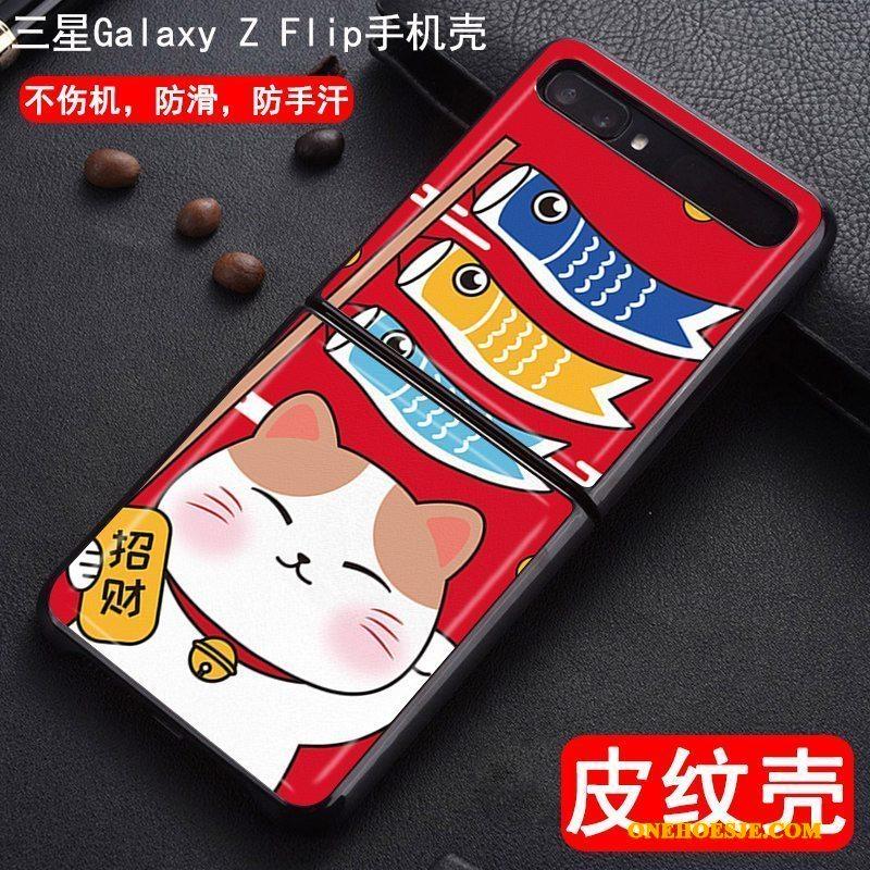 Hoesje Voor Samsung Z Flip Leer Pas Spleet Ster Leren Etui Bescherming