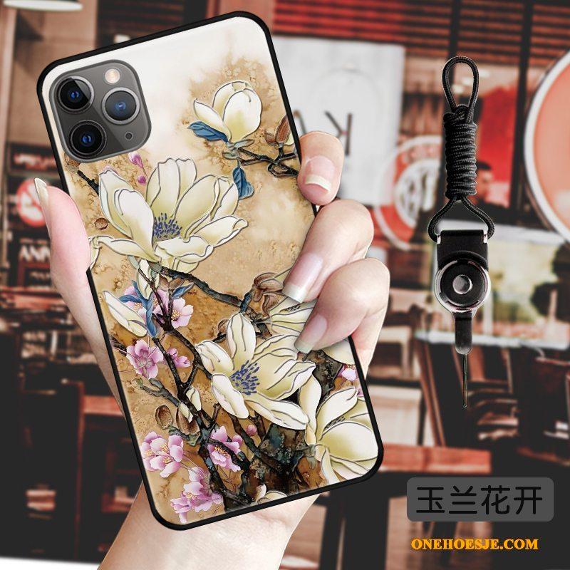 Hoesje Voor iPhone 11 Pro Max Blauw Hanger Reliëf Bescherming Zacht
