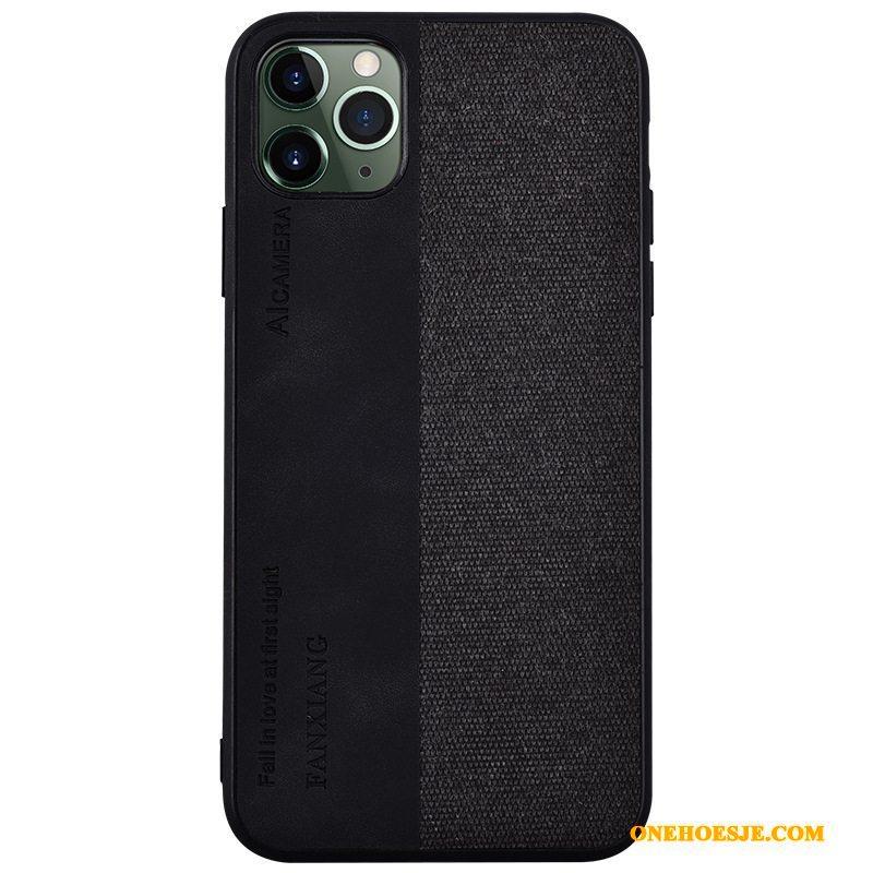 Hoesje Voor iPhone 11 Pro Max Dun Leren Etui Scheppend Trendy Merk Siliconen Patroon