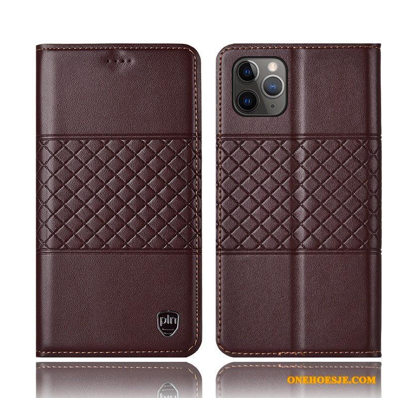 Hoesje Voor iPhone 11 Pro Max Geruite Anti-fall Bescherming Telefoon Geel All Inclusive