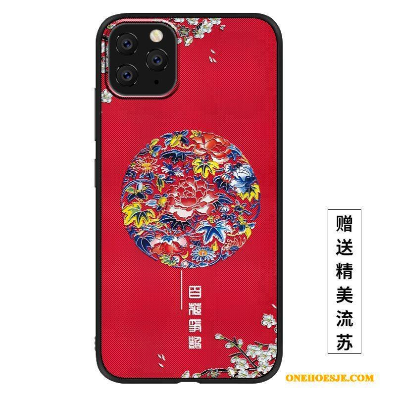 Hoesje Voor iPhone 11 Pro Max Hoes Rood Bescherming Schrobben Siliconen Mooie