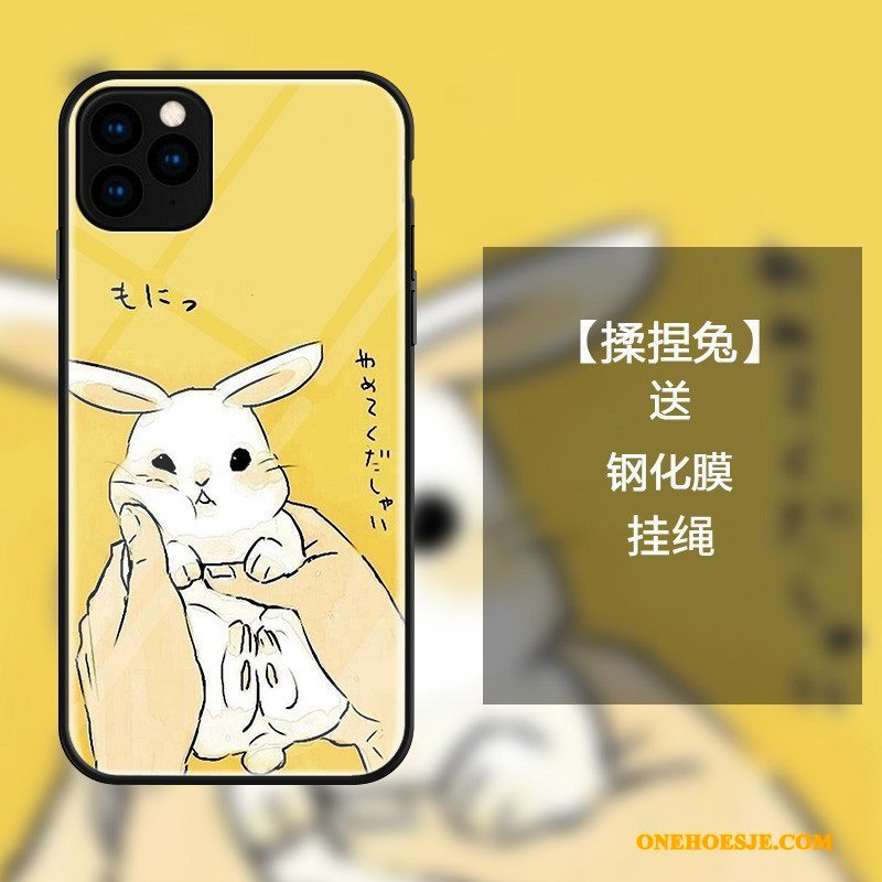 Hoesje Voor iPhone 11 Pro Max Spotprent All Inclusive Konijn Mooie Geel Eenvoudige