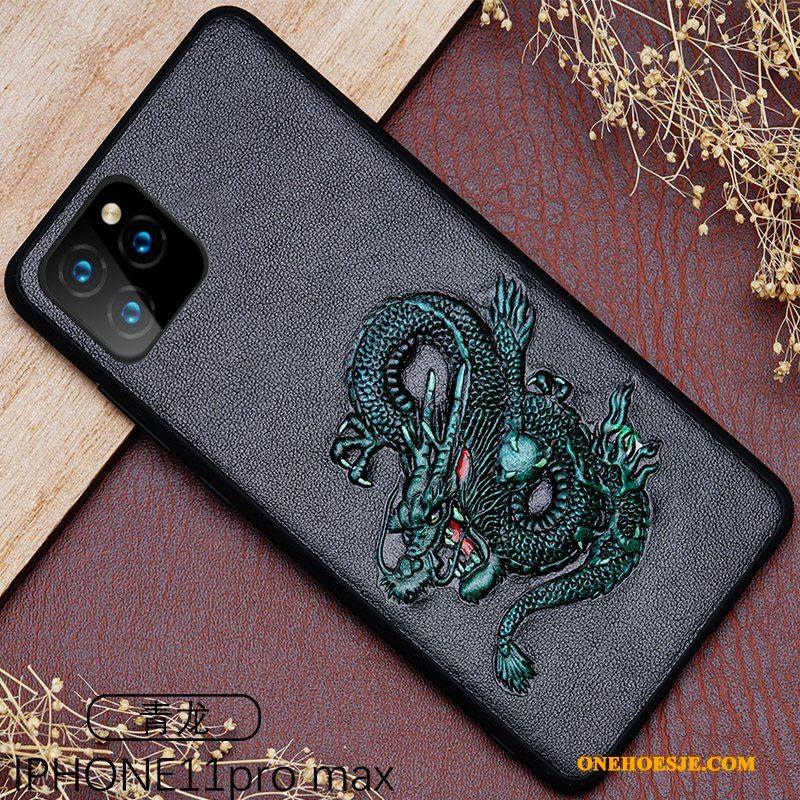 Hoesje Voor iPhone 11 Pro Max Zwart Dun Scheppend Telefoon Bedrijf Bescherming