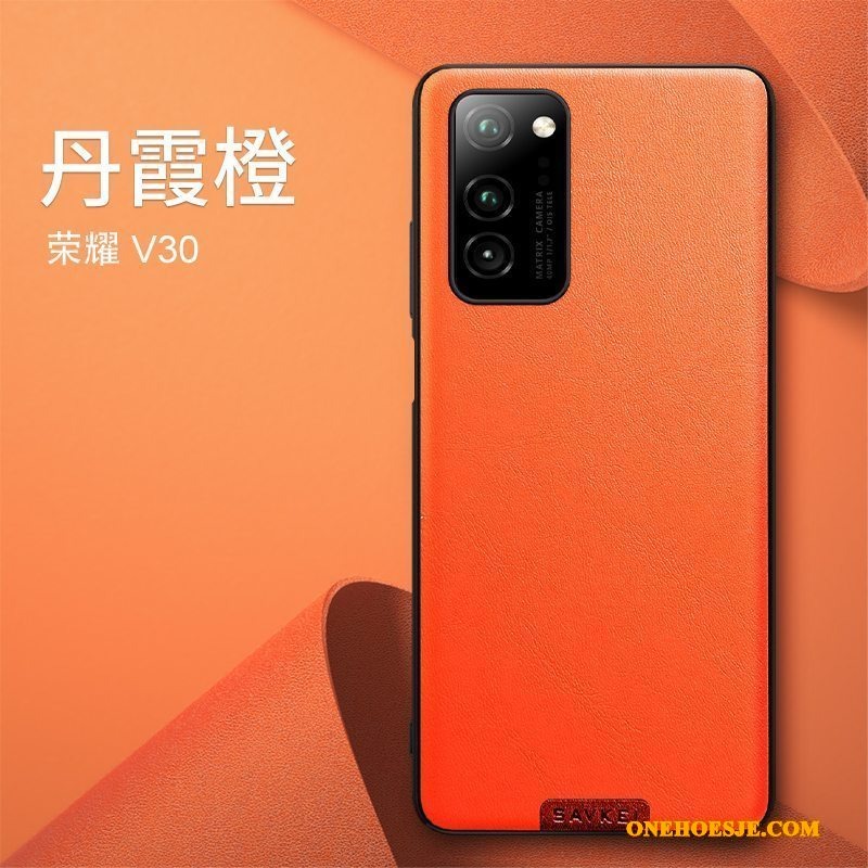 Hoesje Voor Honor View30 High End Telefoon Anti-fall Trendy Merk Zacht Oranje