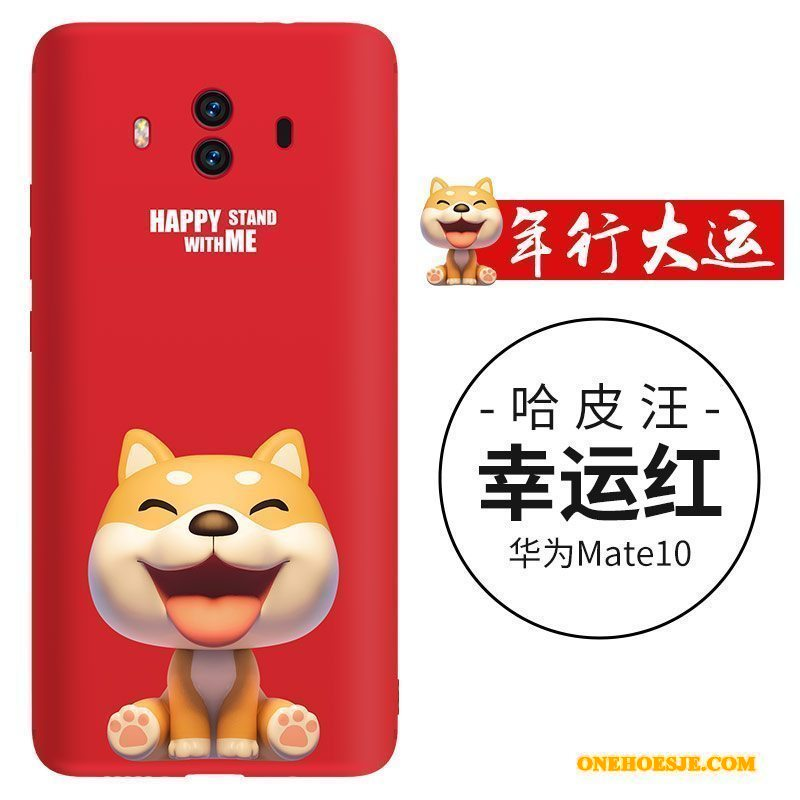 Hoesje Voor Huawei Mate 10 Anti-fall Siliconen Telefoon Rood Hond Dun