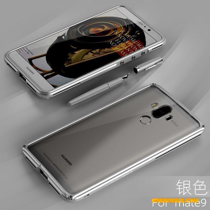 Hoesje Voor Huawei Mate 9 Omlijsting Metaal Bescherming Telefoon Zilver