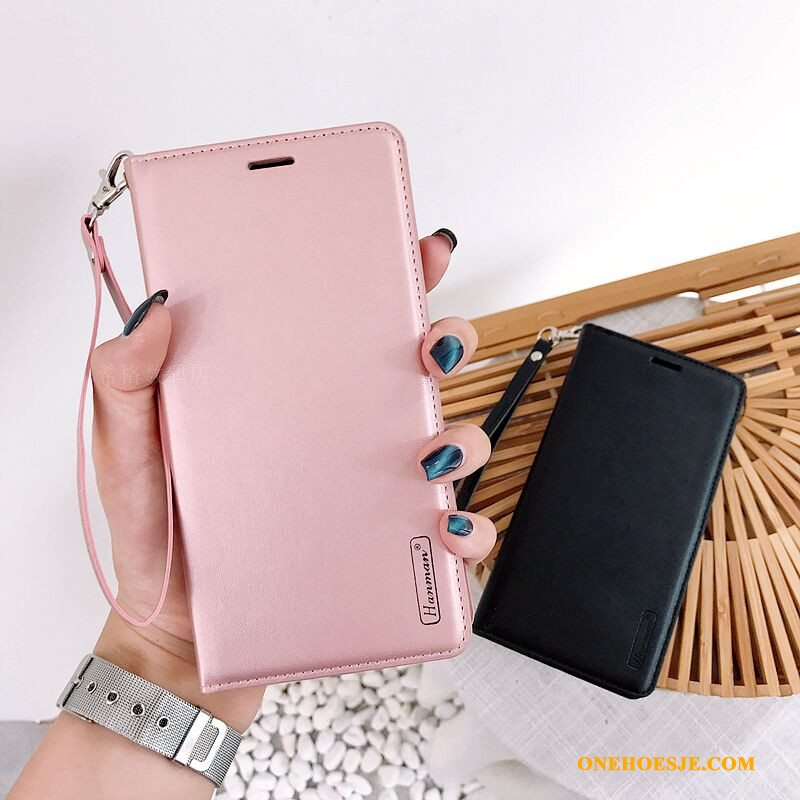 Hoesje Voor Huawei P Smart+ Hoes Anti-fall Roze Folio All Inclusive Leer