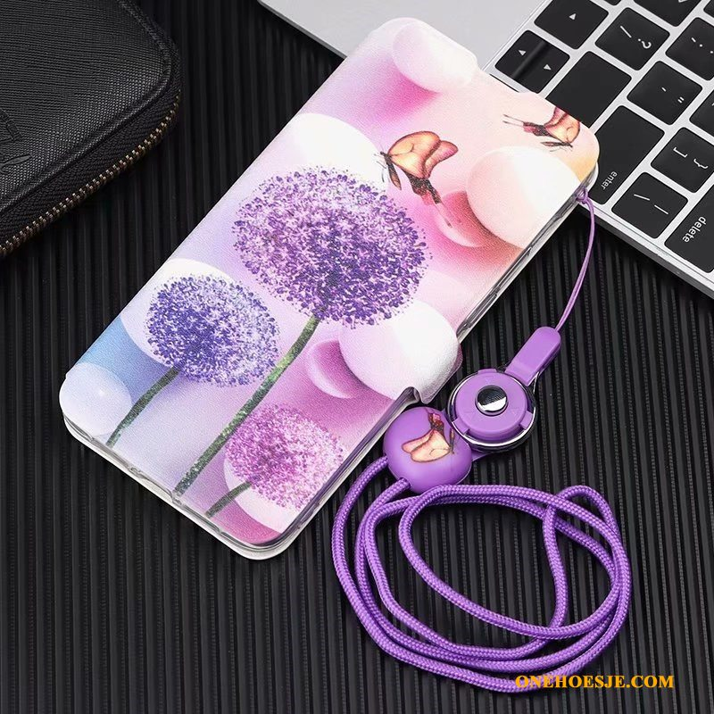 Hoesje Voor Huawei P30 Lite Folio Purper Anti-fall All Inclusive Telefoon Leren Etui