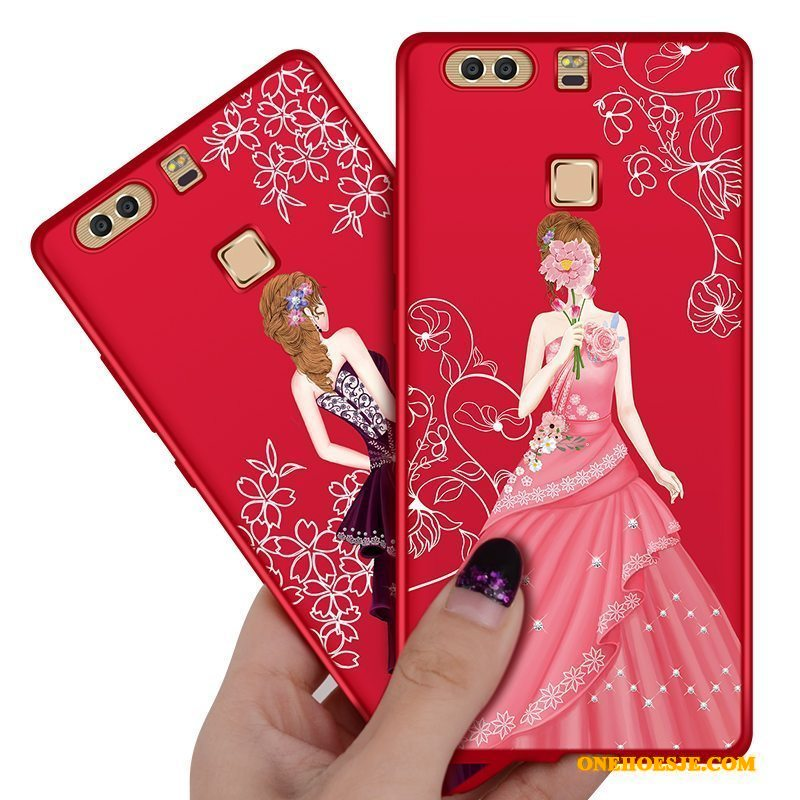 Hoesje Voor Huawei P9 All Inclusive Anti-fall Rood Trend Hard