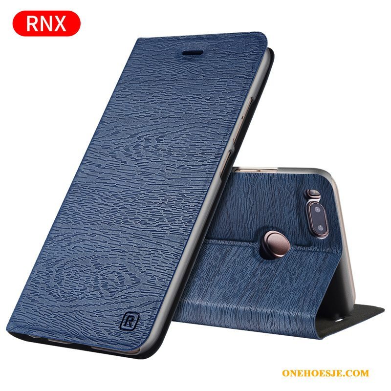 Hoesje Voor Mi 5x Anti-fall All Inclusive Blauw Leren Etui Mini Clamshell