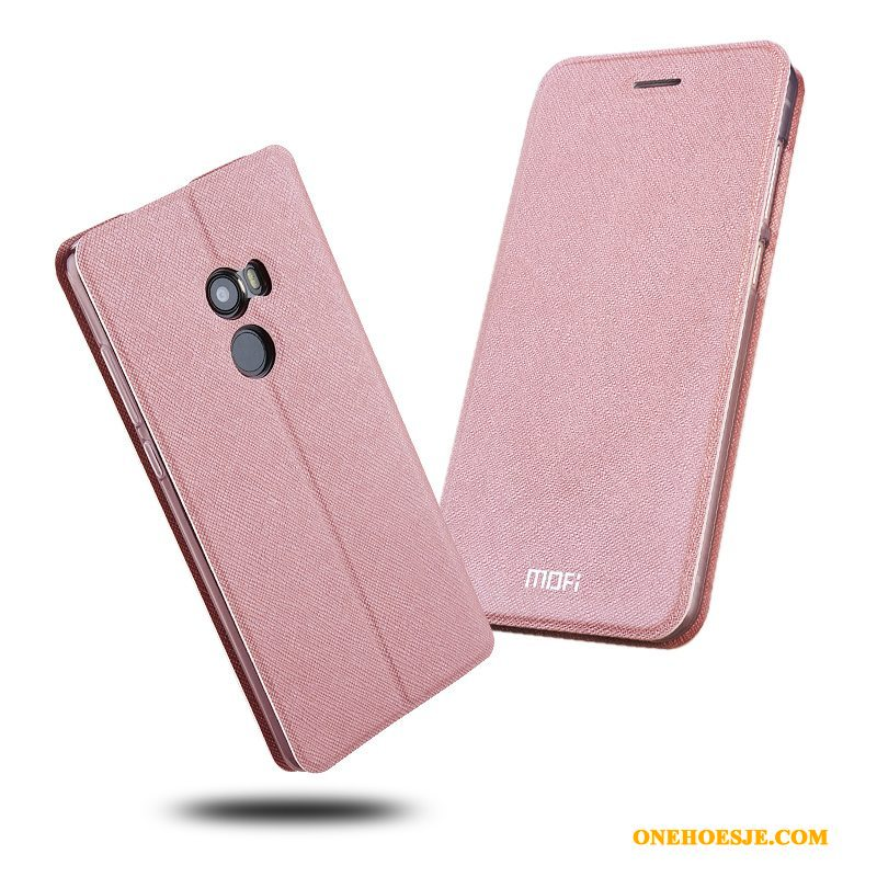 Hoesje Voor Mi Mix 2 Siliconen Telefoon Roze Anti-fall All Inclusive Leren Etui