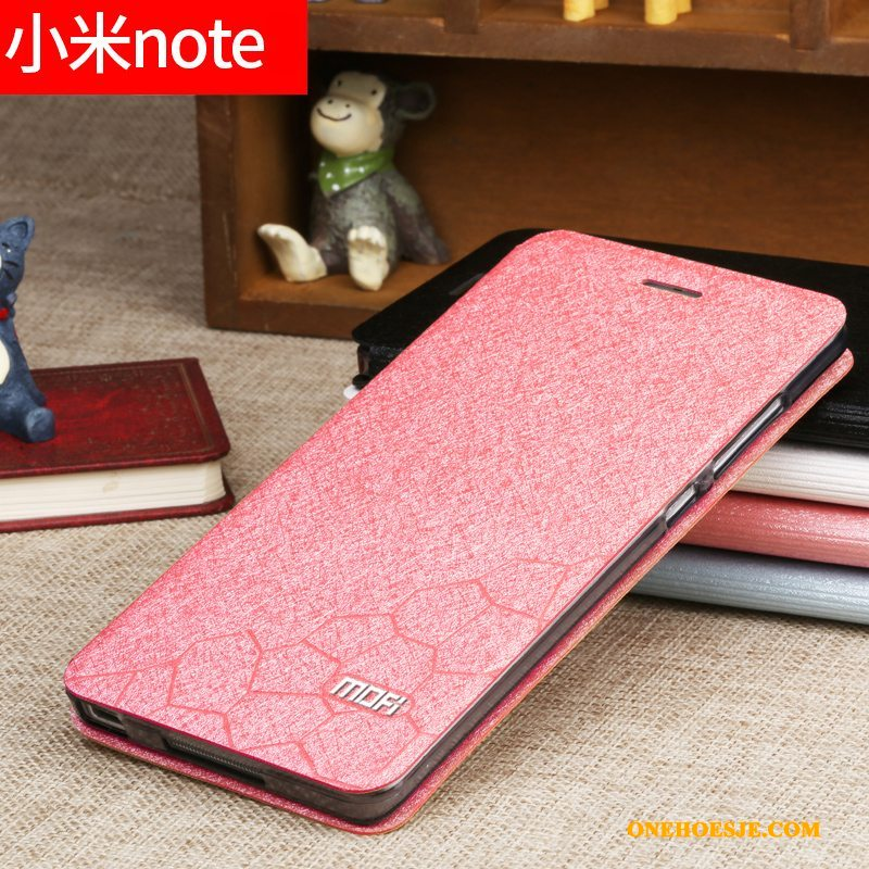 Hoesje Voor Mi Note Roze Hoes Anti-fall Folio Telefoon All Inclusive