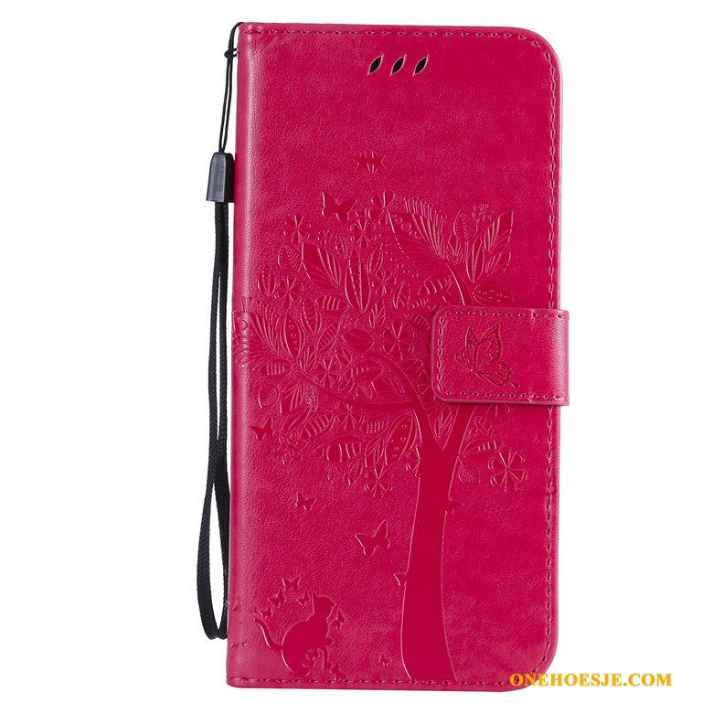 Hoesje Voor Moto G8 Rood Kat Anti-fall Telefoon Boom All Inclusive