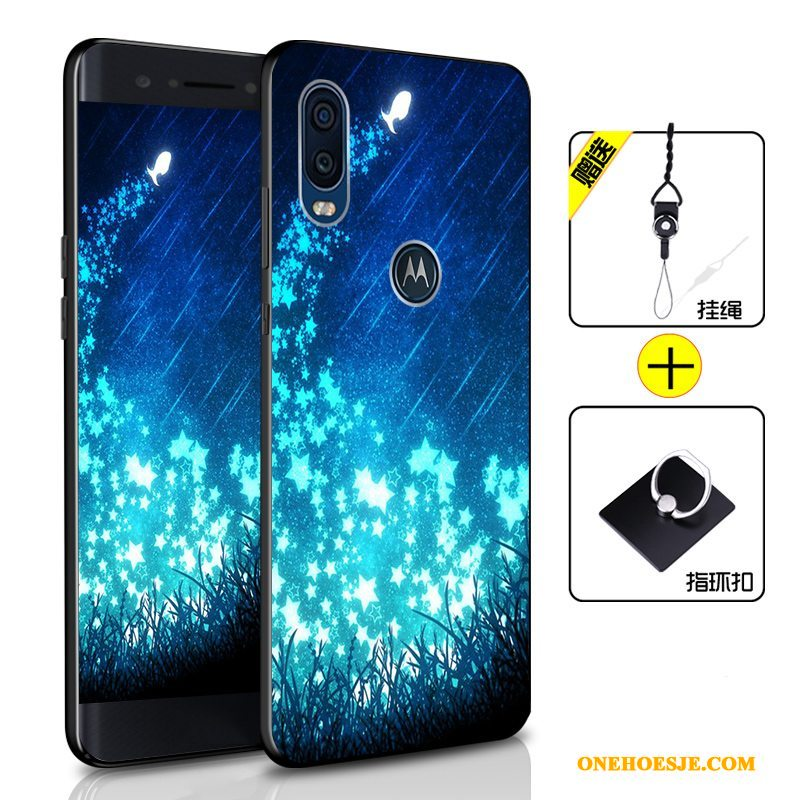 Hoesje Voor Motorola One Vision Anti-fall All Inclusive Telefoon Siliconen Zacht Donkerblauw