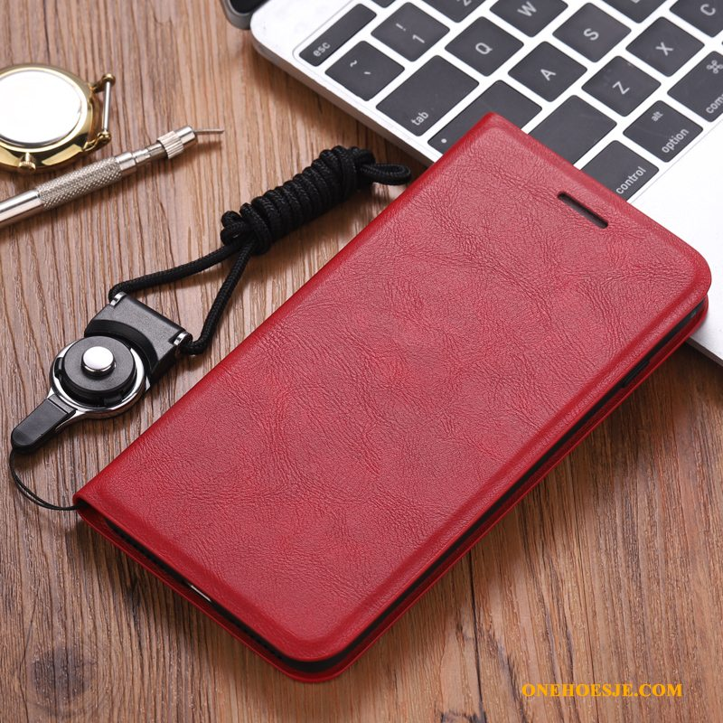 Hoesje Voor Redmi Note 7 Clamshell Hoes Rood Zacht All Inclusive Siliconen