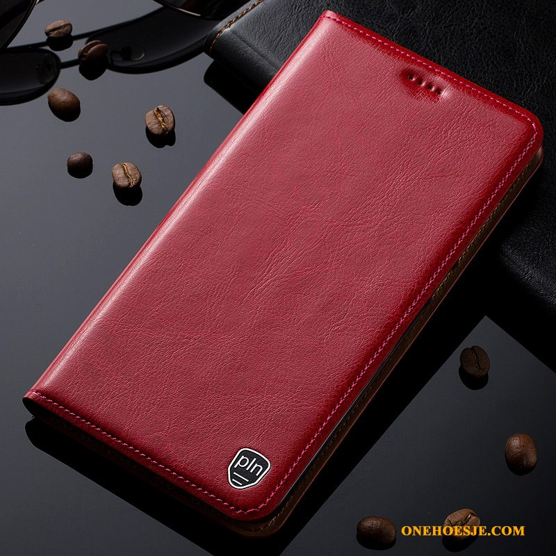 Hoesje Voor Samsung Galaxy A20e Anti-fall All Inclusive Leren Etui Folio Patroon Rood
