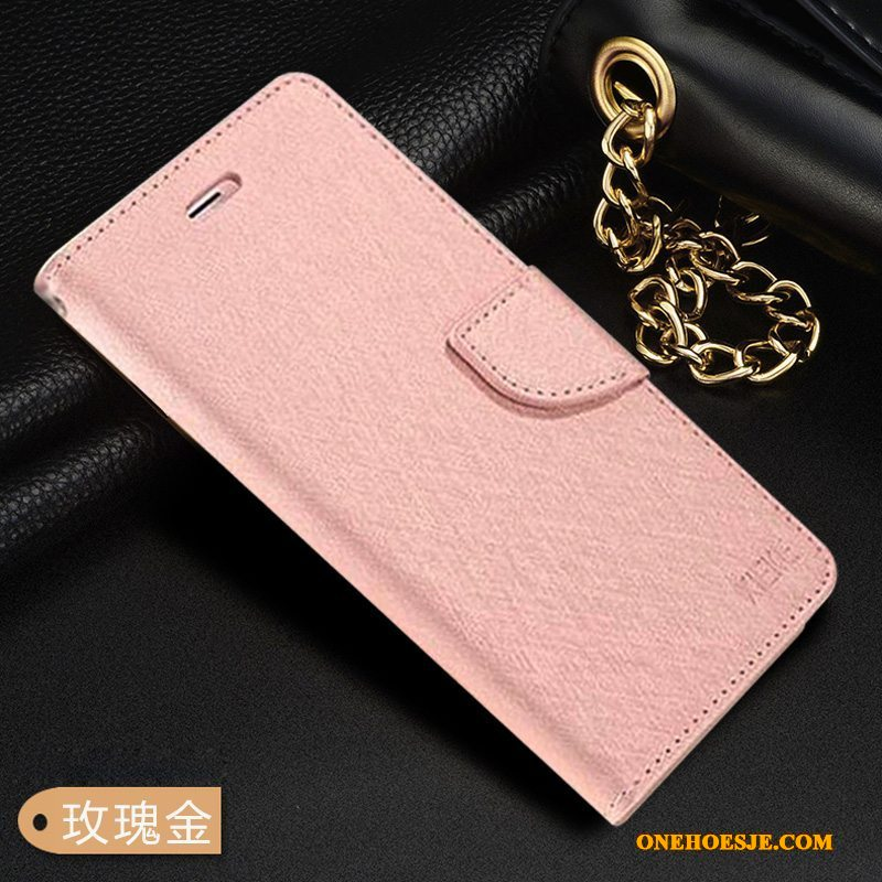Hoesje Voor Samsung Galaxy A20s Rose Goud Leren Etui Clamshell Anti-fall Telefoon Siliconen
